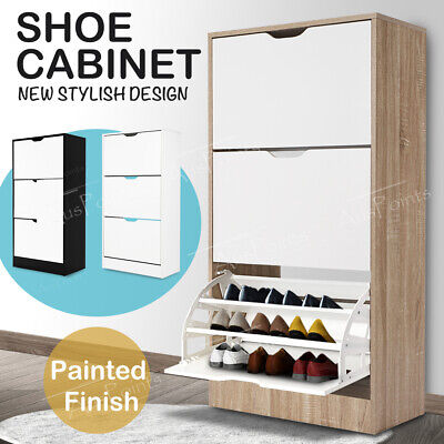 NEW 36 Pairs Wooden Shoe Cabinet Rack Storage Organiser Shelf Cupboard Drawer