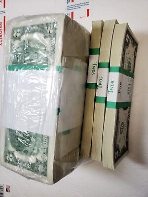 "100 $2 Bills - CRISP, NEW, Consecutive Two Dollar Notes with BEP Pack ""A"""