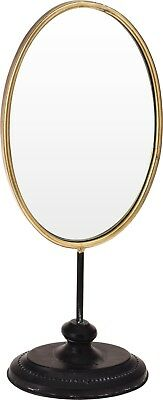 Large Art Deco Tall Dressing Table Mirror Make Up Mirror Gold With Black Base