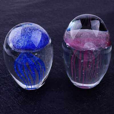 Hand Blown Glass Jellyfish Paperweight Glow In The Dark Crystal Craft Gift Décor