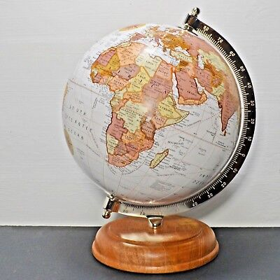 """Globe in Antique White 10"""" with a Mango Wood Base Luxury Unique Home Decor 11379"""