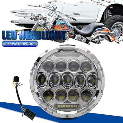 """7"""" MOTORCYCLE CHROME PROJECTOR LED LIGHT BULB DAYMAKER HEADLIGHT Fit Harley"""