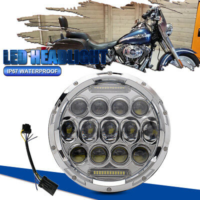 """7"""" MOTORCYCLE CHROME PROJECTOR DAYMAKER LED LIGHT BULB HEADLIGHT Fit Harley"""
