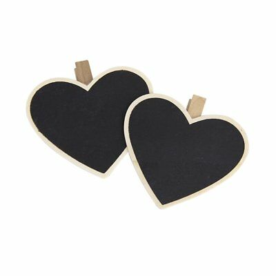 8Pcs Heart-Shape Blackboard Wooden Pegs Photo/Note/Paper Clips X7O7