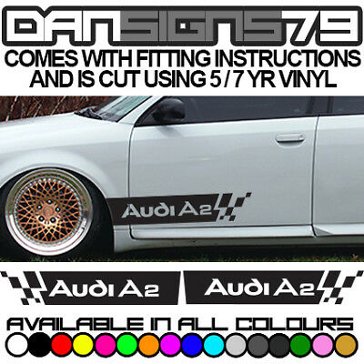 AUDI A2 SIDE Door Stripe Racing Graphics Decal Sticker Kit - 2 Sides