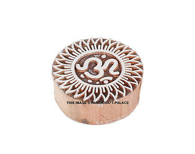 Om Sign Shaped Indian Hand Carved Wooden Printing Block Stamp Brown 6.5cm