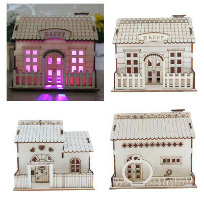 DIY Wooden Doll House Villa Miniatures LED Furniture Kit Light With Cover