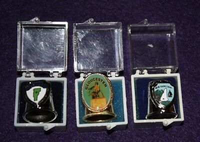 3 New In Package State Metal Thimbles Nh, Vt And Ma