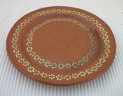 """Vintage Mexican Redware Natural Clay Pottery Southwest Plate 9 1/4"""""""