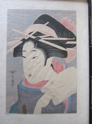 "Antique Kitagawa Utamaro ""big head"" woodblock print early 20th century"