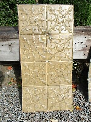 Fabulous Ornate Tin Ceiling, 4' x 2' w/ Mustard Color, Awesome RePurp Piece