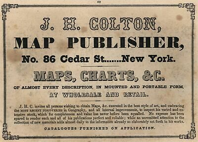 JH Colton Map Publishers 86 Cedar St. c.1850 Advertising New York city on print