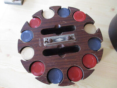 Antique Vintage Poker Chip Set Wood Carousel Caddy with Cover & Chips