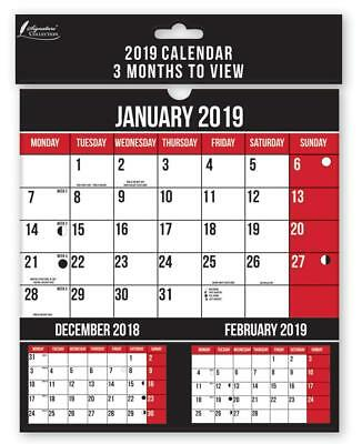 Calendar 2019 3 Months to View Spiral Bound Wall Mounting School Office Home
