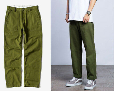 Men Cotton Baggy Workout Pants Trousers Loose Plain Fashion Casual Thermal Cargo