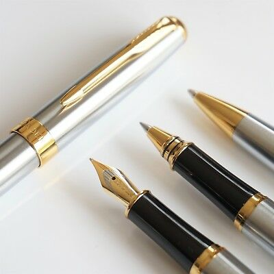 BAOER #388 Stainless Steel Ballpoint/Rollerball/Fountain Pen Set Arrow F Nib GT