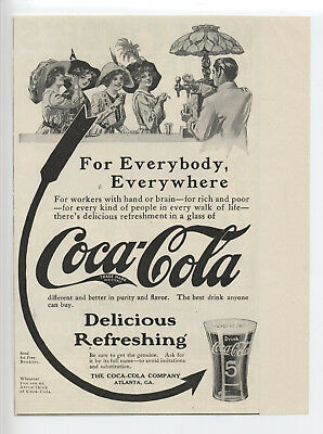 Coca-Cola Ad ~ 1913 Soda Fountain Arrow Glass Very Nice Condition Free Shipping!