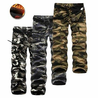 Men Fashion Camo Thermal Trousers Pants Warm Tactical Cargo Fleece Lining Autumn