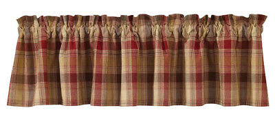 New Country Primitive Rustic Cabin Hearthside Red Mustard Tan Curtain Valance