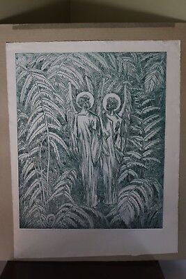 "Juliette May Fraser (1887-1983) Etching ""Angelic Hawaiian Conversation"" Ed. 1/15"