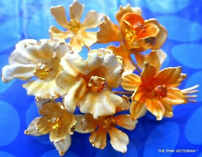 Golden Yellow Orange Rhinestone Vintage Flower Pin Signed Made In Austria