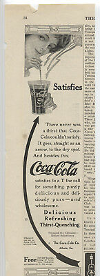"Coca-Cola Ad ~ 1913 Girl ~ Arrow ~ Glass ~ ""Satisfies"" ~ Free Shipping!"