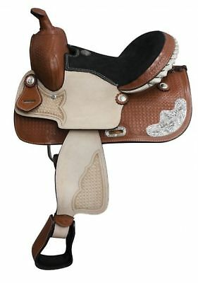 """13"""" Double T Basket Weave Tooled Youth Saddle W/ Silver Corner Plates!"""