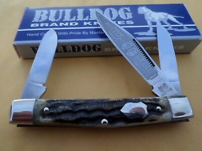 "Vintage Bulldog Gnarly Stag Stockman Knife Germany NIB MINT Collectible ""RARE"""