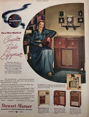 1948 Stewart - Warner Am Fm Radio ,Phonographs Print Ad Vintage