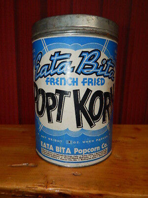 "Vintage 1938 Eata Bita French Fried Popt Korn Metal Tin Can w/ Lid 8"" Tall-RARE"