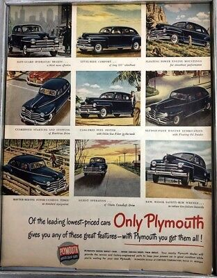 1948 Plymouth Automotive Print Ad Vintage