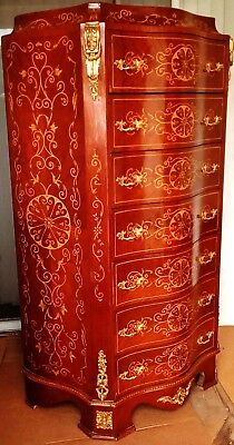 Gorgeous French Louis Style Large Chest of Drawers, Hand Painted Design