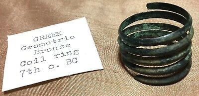 RARE ANCIENT GREEK GEOMETRIC BRONZE COIL RING 7th CENTURY BC (2)