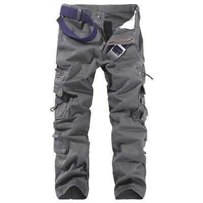 Men Cargo Army Pants Cotton Baggy Tactical Trousers Slacks Military Pockets