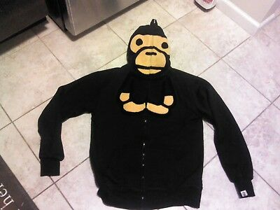 bbfb107d597f RARE!! A BATHING APE BAPE BABY MILO Hoodie Sweatshirt BLACK Size M Made in