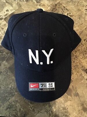 291893a5f35 Nike Brand MLB New York Yankees Fitted Stretch Cap Hat Navy Blue Size 7 3