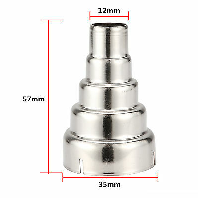 1 x Silver Stainless Steel 5 Layer Reducing Nozzle For Heat Gun Accessories