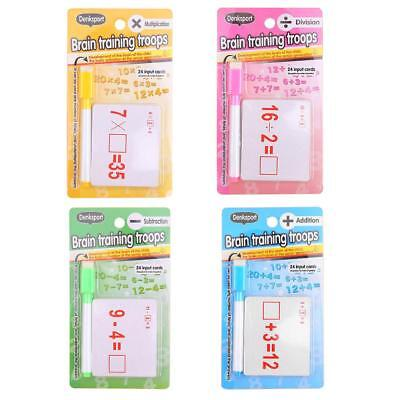 1set Kids Reusable Mathematics Teach Card with Erasable Pen Educational Toy #gib