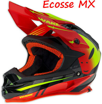2018 UFO Onyx Motocross MX Enduro Helmet Diablo Wake Red Black Yellow 59-60 cm L