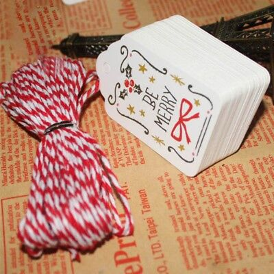 New 50Pcs Christmas Kraft Paper Gift Tags Label Luggage Blank + 10M Red Strings