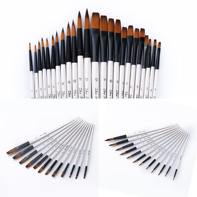 12pcs Artist Paint Brushes Pointed Brush Set Watercolor Painting Acrylic Oil