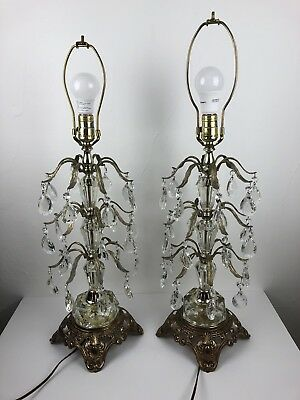 Vintage PAIR of EF & EF Industries Lamps Brass Crystal Chandelier Table Lamps