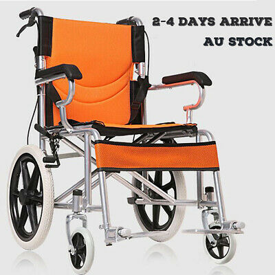 16 INCH FOLDABLE WHEELCHAIR Light Weight & Solid Stainless Steel Mobility Aid AU