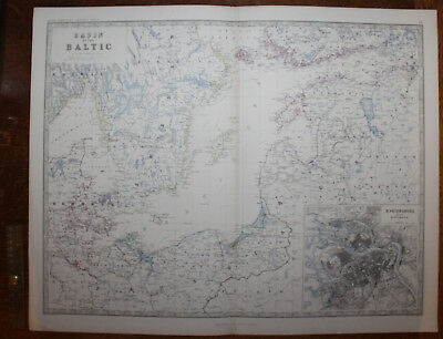 1861 Basin of The Baltic Keith Johnston Royal Atlas 24 by 19 inches Large