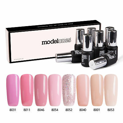 Modelones Set 8Pcs Esmaltes de uñas en gel UV LED Soak Off Manicura Starter Kit