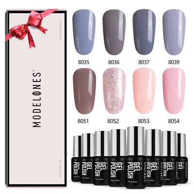Modelones 8PCS 7ML Soak off UV Gel Esmaltes de uña + caja de regalo