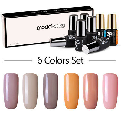 6Pcs Esmaltes de uñas Gel UV LED Soak Off Manicura Top Coat Base caja de regalo