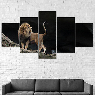 Lion Animal Canvas Print Painting Framed Home Decor Wall Art Poster 5Pcs