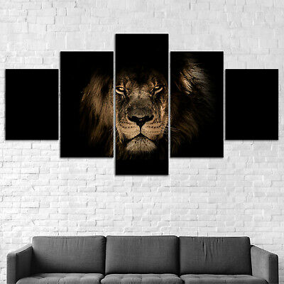 Lion Animal Shadow Canvas Print Painting Framed Home Decor Wall Art Poster 5Pcs