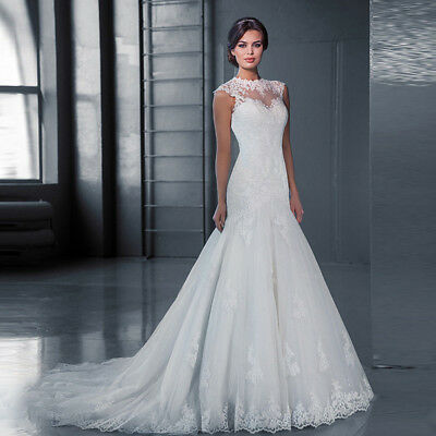 Mermaid White Bridal Bridesmaid Wedding Dress Ball Gown Custom Made Chiffon Lace